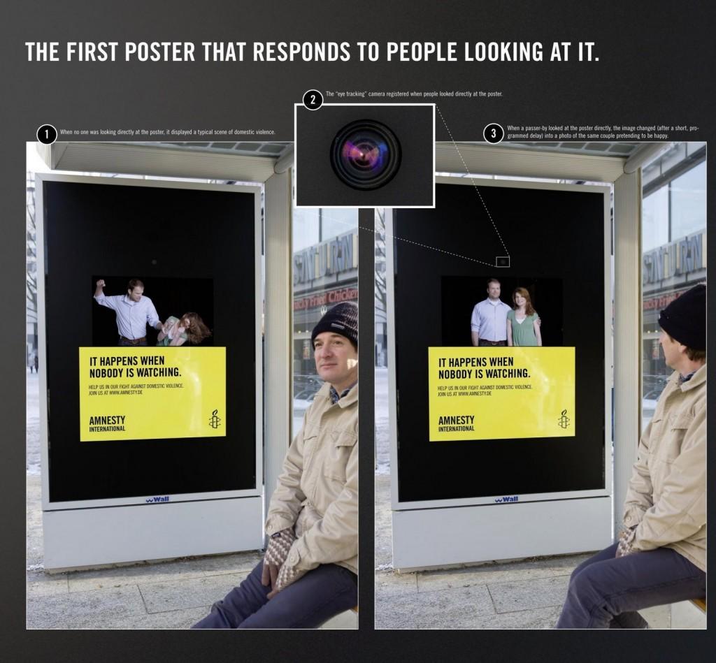 Amnesty Internation Eye Ball Tracking Domenstic Abuse Poster